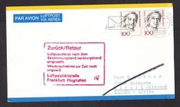 Germany: Postcard To Rwanda, 1990s, 2 Stamps, Returned, Retour, Air Traffic Interrupted, Civil War? (traces Of Use) - [7] République Fédérale