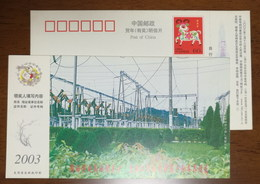 220 KV Mahong Transformer Substation,China 2003 Ganxi Power Supply Bureau Advertising Pre-stamped Card - Electricité