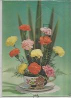 Bouquet D'œillets Et Langues De Belle-mère Dans Une Tasse. - Cartes Stéréoscopiques