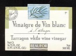 Etiquette  De Vinaigre De Vin Blanc à L'Estragon  -  Beaufor   France - Etiquettes