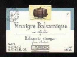 Etiquette  De Vinaigre Balsamic De Modème  -  Beaufor   France - Etiquettes