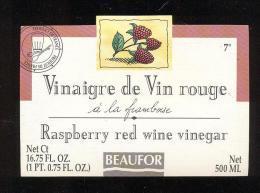 Etiquette  De Vinaigre De Vin Rouge à La Framboise  -  Beaufor   France - Etiquettes