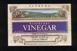 Etiquette  De Vinaigre Raspberry  -  Champagne France - Etiquettes