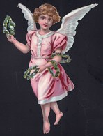 FIN 1800 - GRAND DECOUPI GAUFFRE - PETITE FILLE - ANGE - ANGEL - 20cm !! 2 Scans - Anges