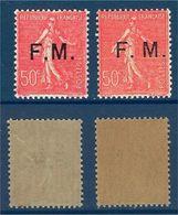 "FR Franchise YT 6 & 6c "" Semeuse, Avec M Rapproché "" 1929 Neuf** - Franchise Stamps"