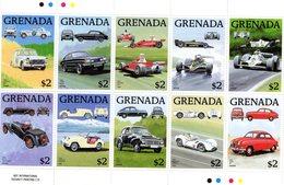 Grenada 1988 - Automobiles - Peugeot-Capri-Ferrari-Lotus-Williams-HRG-Crosley-Volvo-Maserati-Saab - 10v Sheet Neuf/MNH - Voitures