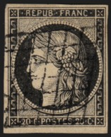 N°3, Cérès 1849, 20c Noir, Oblitéré Grille - TB - COTE 65 € - 1849-1850 Cérès