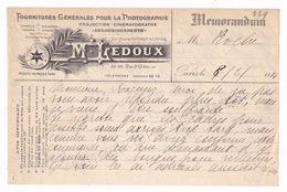 Memorandum 1916 Fournitures Photographie M. Ledoux, 26-28 Rue Saint-Gilles, Paris - France