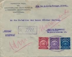 1924 BOLIVIA , SOBRE CERTIFICADO , COCHABAMBA - ZÜRICH , VIA LA QUIACA - BUENOS AIRES , TRÁNSITO Y LLEGADA - Bolivia