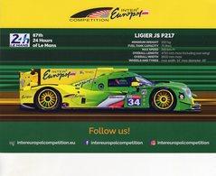 24 Heures Du Mans 2019 - Ligier JS P217 - Equipe Intereuropol - Winslow-Smiechowski-Moore - Carte Promo - Le Mans