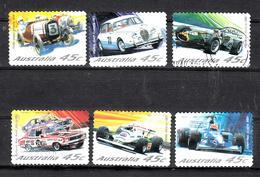 Austrlie 2002 Mi Nr  2113 - 2118, Autoraces, Austin 7, Jaguar Mark II, Repco-Brabham,  Holden Torana XU1,  FW07 Ford - 2000-09 Elizabeth II