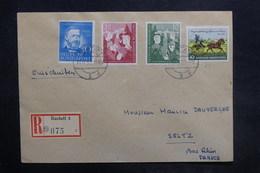 ALLEMAGNE - Enveloppe En Recommandé De  Rastatt Pour Seltz En 1952 , Affranchissement Plaisant - L 36483 - BRD