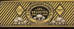 Etiquette Boite De Conserve - Champignons De Paris Les Veloutés - Arnoult Père Et Fils à Bourgueil (37) - 30 X 11 Cm - Fruit En Groenten