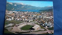 CPSM STADE STADIUM ANNECY VUE GENERALE AERIENNE SUR LA VILLE LE LAC ET LA TOURNETTE ED TELE - Stades