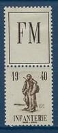 """FR Franchise YT 10A """" Dyptique Infanterie """" 1940 Neuf* - Franchise Militaire (timbres)"""