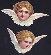 FIN 1800 - 2X DECOUPI GAUFFRE - PETITE FILLE - ANGE - ANGEL - LARGEUR 14 ET 11 CM !! 2 Scans - Anges