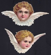 FIN 1800 - 2X DECOUPI GAUFFRE - PETITE FILLE - ANGE - ANGEL - LARGEUR 14 ET 12 CM !! 2 Scans - Anges