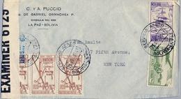 1941 BOLIVIA , SOBRE CIRCULADO , LA PAZ - NUEVA YORK , SERVICIO AÉREO , BANDA DE CENSURA , YV. 43 , 48 , 47 X 3 - Bolivia