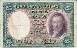 Banconote  SPAGNA   -   25 Pesetas 1931 / - [ 3] 1936-1975 : Regime Di Franco