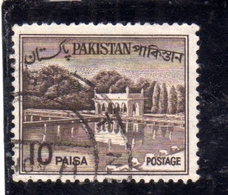 PAKISTAN 1961 1963 LANDSCAPE SHALIMAR GARDENS LAHORE 10p USED USATO OBLITERE - Pakistan