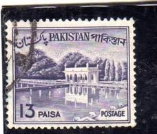 PAKISTAN 1961 1963 LANDSCAPE SHALIMAR GARDENS LAHORE 13p USED USATO OBLITERE - Pakistan