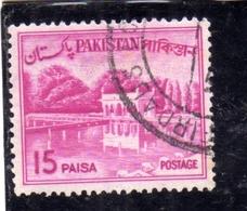 PAKISTAN 1963 1970 LANDSCAPE SHALIMAR GARDENS LAHORE 15p USED USATO OBLITERE - Pakistan
