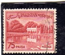 PAKISTAN 1961 1963 LANDSCAPE SHALIMAR GARDENS LAHORE 75p USED USATO OBLITERE - Pakistan
