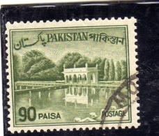 PAKISTAN 1961 1963 LANDSCAPE SHALIMAR GARDENS LAHORE 90p USED USATO OBLITERE - Pakistan