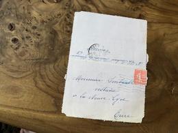 171/ TYPE SEMEUSE LIGNEE 50 CENTIME SUR LETTRE - Old Paper