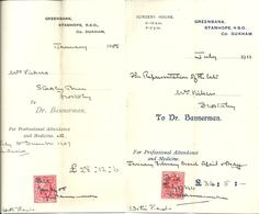 TWO STANHOPE R.S.O. (RAILWAY) CO. DURHAM - DOCTORS INVOICES 1908 & 1911 - United Kingdom