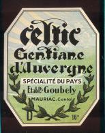 Etiquette De Gentiane  D'Auvergne  -  Ets Goubely  à  Mauriac (15) - Etiquettes