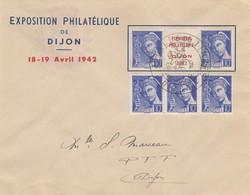 LETTRE. EXPOSITION PHILATELIQUE DE DIJON. 18-19 AVRIL 1942. TRIPTYQUE EXPO + BANDE DE 3 MERCURE 10c - Storia Postale