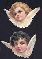 FIN 1800 - 2 X DECOUPI GAUFFRE - PETITE FILLE - ANGE - ANGEL - CHERUBIN - LARGEUR 10CM !! 2 Scans - Anges