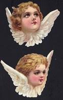 FIN 1800 - 2 X DECOUPI GAUFFRE - PETITE FILLE - ANGE - ANGEL - CHERUBIN - LARGEUR 9 CM !! 2 Scans - Anges