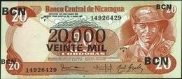 NICARAGUA - 20.000 Cordobas 11.08.1987 {Series F} UNC P.147 - Nicaragua