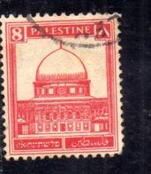 PALESTINE PALESTINA 1927 1942 MOSQUE OF OMAR DOME OF THE ROCK 8m USATO USED OBLITERE' - Palestina