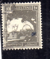 PALESTINE PALESTINA 1927 1942 RACHEL'S TOMB 10m USATO USED OBLITERE' - Palestina