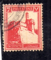PALESTINE PALESTINA 1927 1942 CITADEL AT JERUSALEM 7m USATO USED OBLITERE' - Palestina