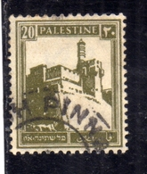 PALESTINE PALESTINA 1927 1942 CITADEL AT JERUSALEM 20m USATO USED OBLITERE' - Palestina