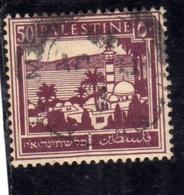 PALESTINE PALESTINA 1927 1942 TIBERIAS AND SEA OF GALILEE 50m USATO USED OBLITERE' - Palestina