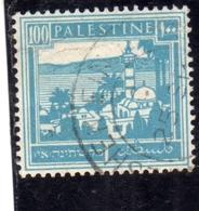 PALESTINE PALESTINA 1927 1942 TIBERIAS AND SEA OF GALILEE 100m USATO USED OBLITERE' - Palestina