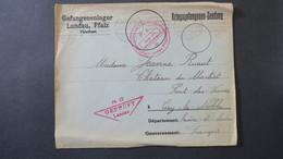 Lettre Prisonniers De Guerre A En Tete Camp De Landau 1917 ( Avec Correspondance ) Pour Ciry Le Noble Saone Et Loire - WW I
