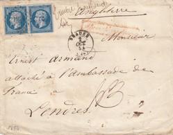 LETTRE. 1854. N° 14 BLEU LAITEUX. 40c.  INSUFFISANT POUR LONDRES. ATTACHE A L'AMBASSADE.  CACHET CIRE COURONNE - 1849-1876: Période Classique