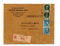Lettre Recommandée Rugles Sur Pétain Mercure - Marcophilie (Lettres)