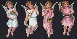 FIN 1800 - 4 X DECOUPI GAUFFRE - PETITE FILLE - ANGE AVEC INSTRUMENT - ANGEL  - 8 CM  !! 2 Scans - Anges