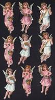 FIN 1800 - 9 X DECOUPI GAUFFRE - PETITE FILLE - ANGE - ANGEL  - 8 CM  !! 2 Scans - Anges