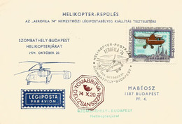 Transport De Courrier De La Ville De Szombathely à Budapest, Par Hélicoptère, 20 Oct. 1974. Poste Aérienne - Helicópteros
