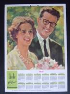 Belgie Kalender Libelle 1961 Portret Koning Boudewijn & Fabiola Verloving Fiancaille  Roi Baudouin Form 25 X 35 Cm - Calendriers