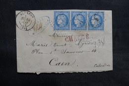 FRANCE - Enveloppe En Chargé De Alençon Pour Caen En 1872 , Affranchissement Cérès Bande De 3 - L 36567 - Postmark Collection (Covers)