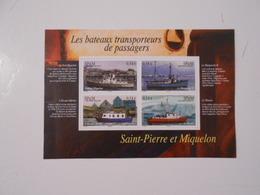 ST-PIERRE-ET-MIQUELON BF12 LES BATEAUX TRANSPORTEURS DE PASSAGERS** - Blocs-feuillets